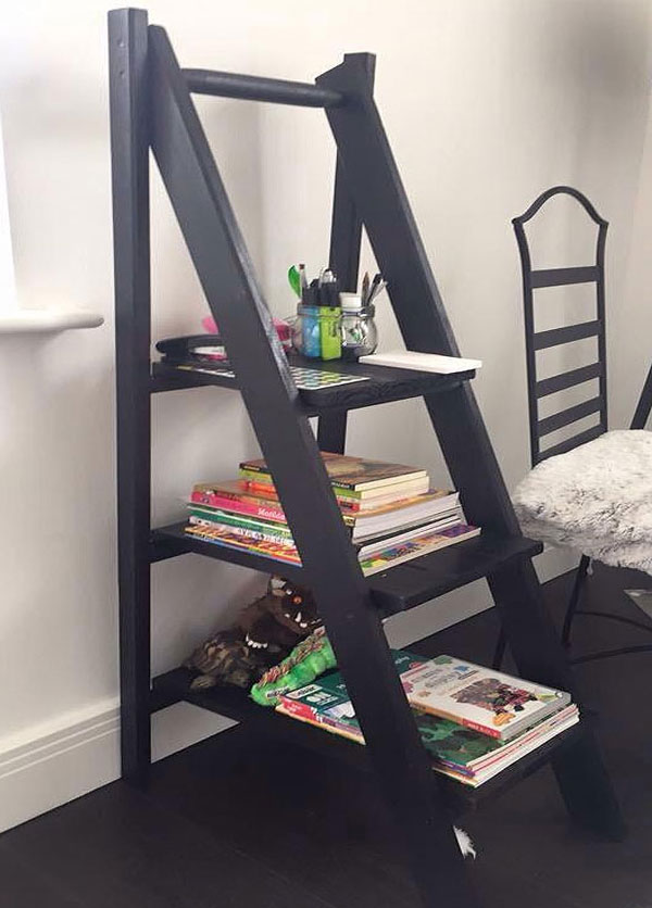 Bespoke Platform Stepladders. In black finish to match interior decor. Perfect storage and display solution