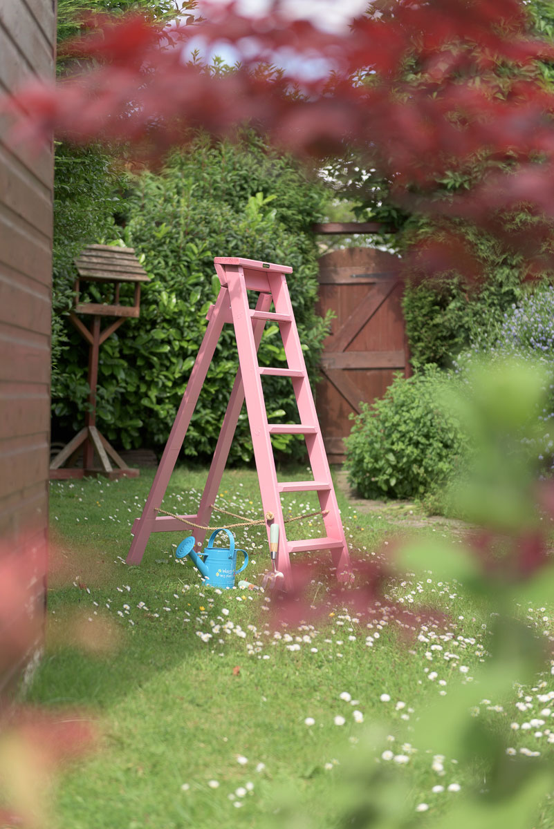 Pink wooden step ladders