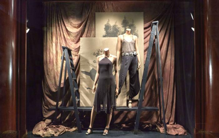 Wooden step ladders in window displays for Ralph Lauren