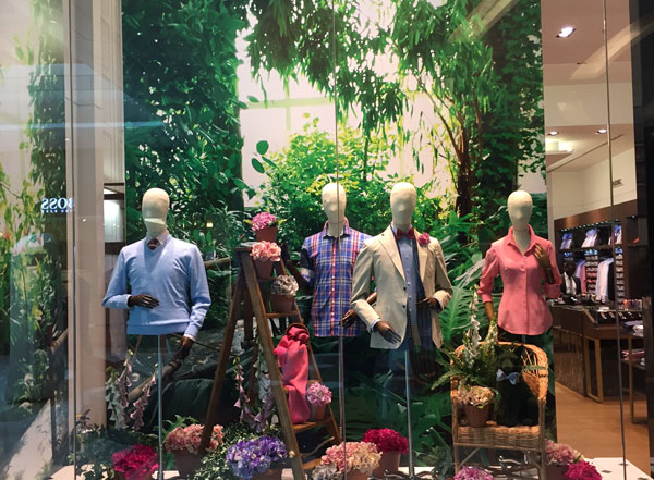 Our wooden steps look very smart in Thomas Pink's recent window displays.