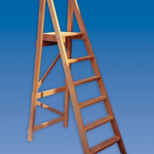 PT wooden platform step ladders in natural finish