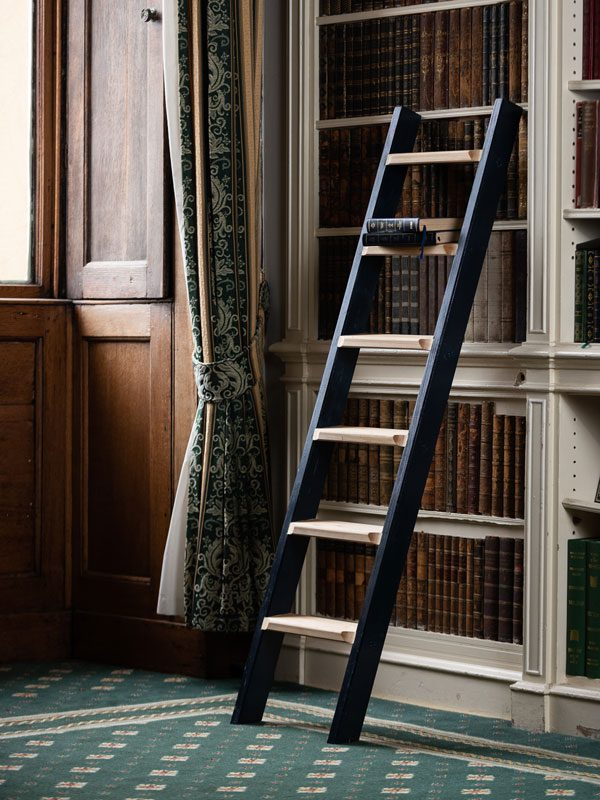 Wooden Library Ladders with natural treads and painted sides - Cuprinol Iris